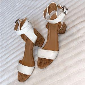 White wedged heels
